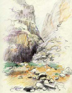 Aradena kløften på Kreta - Farveblyant